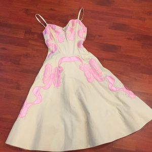 Betsey Johnson Cream and Pink Bows Dress